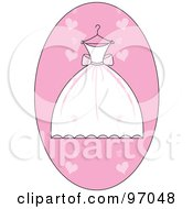 Royalty Free RF Clipart Illustration Of A White And Pink Wedding Dress On A Hanger Over A Pink Heart Oval by Pams Clipart
