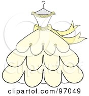 Cream And Yellow Wedding Dress With Roses On A Hanger