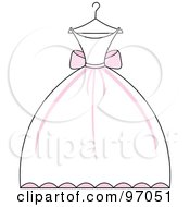 Royalty Free RF Clipart Illustration Of A Pink And White Wedding Dress On A Hanger by Pams Clipart
