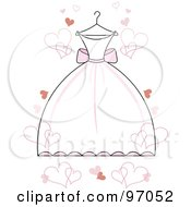 Royalty Free RF Clipart Illustration Of A White Wedding Dress With Pink Accents On A Hanger With Floating Hearts by Pams Clipart