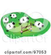 Royalty Free RF Clipart Illustration Of Four Numbered Sheep Leaping Over A Farm Fence