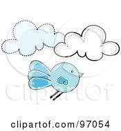 Royalty Free RF Clipart Illustration Of A Round Bluebird Flying By Clouds