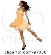 Royalty Free RF Clipart Illustration Of A Relaxed Indian Woman Dancing In A Short Orange Dress by Pams Clipart
