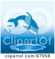 Royalty Free RF Clipart Illustration Of A Blue Dolphon Jumping Into Water