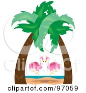 Royalty Free RF Clipart Illustration Of A Pink Flamingo Pair Gazing Under Palm Trees On A Tropical Beach by Pams Clipart