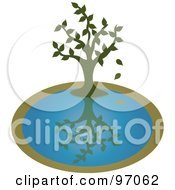 Royalty Free RF Clipart Illustration Of A Green Tree Dropping Leaves Over A Pond