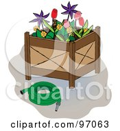 Royalty Free RF Clipart Illustration Of A Green Hose Beside A Flower Planter Box by Pams Clipart