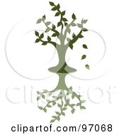 Royalty Free RF Clipart Illustration Of A Green Silhouetted Tree Dropping Leaves Over A Shadow by Pams Clipart #COLLC97068-0007