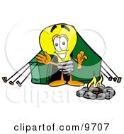 Light Bulb Mascot Cartoon Character Camping With A Tent And Fire