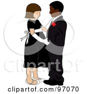 Royalty Free RF Clipart Illustration Of A Caucasian Girl And Black Boy In Formal Wear Dancing Together by Pams Clipart