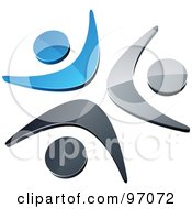 Royalty Free RF Clipart Illustration Of Three Blue Chrome And Black People Celebrating Or Dancing In A Circle by beboy