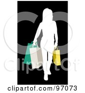 Royalty Free RF Clipart Illustration Of A White Silhouetted Woman Carrying Colorful Shopping Bags