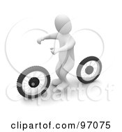 3d Blanco Man On An Invisible Dirt Bike With Two Wheels