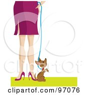 Royalty Free RF Clipart Illustration Of A Little Chihuahua Puppy By A Womans Legs by Maria Bell