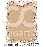 Royalty Free RF Clipart Illustration Of A Border Of Dog Leashes Tennis Balls Dog Bones Around Tan