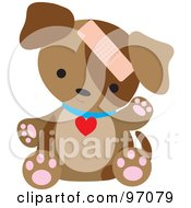 Royalty Free RF Clipart Illustration Of A Brown Puppy Dog Sitting With A Bandage On His Head by Maria Bell
