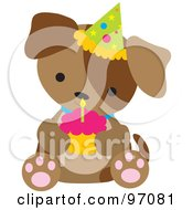 Royalty Free RF Clipart Illustration Of A Brown Puppy Dog Wearing A Birthday Party Hat And Holding A Cupcake by Maria Bell