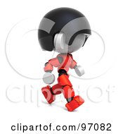 3d Red Asian Robot Character Walking Right