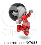 3d Red Asian Robot Character Jumping And Facing Right