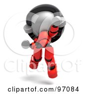 3d Red Asian Robot Character Jumping And Facing Front
