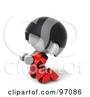 3d Red Asian Robot Character Kneeling And Begging