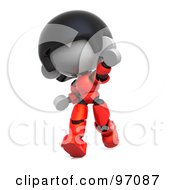 3d Red Asian Robot Character Running And Pointing
