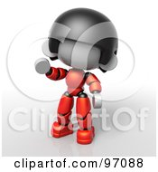 3d Red Asian Robot Character Waving