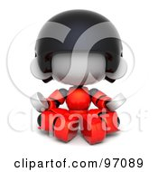 3d Red Asian Robot Character Meditating And Facing Front