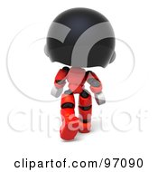 3d Red Asian Robot Character Walking Away