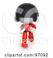 3d Red Asian Robot Character Walking With A Determined Attitude