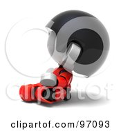 Royalty Free RF Clipart Illustration Of A 3d Red Asian Robot Character Meditating And Facing Left by Tonis Pan