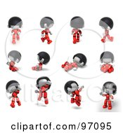 Royalty Free RF Clip Art Illustration Of A Digital Collage Of A 3d Red Asian Robot Character In 12 Different Poses by Tonis Pan