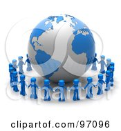 Royalty Free RF Clipart Illustration Of A Circle Of 3d Blue People Holding Hands Around A Globe