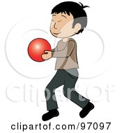 Royalty Free RF Clipart Illustration Of A Little Asian Boy Walking And Holding A Ball