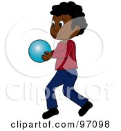 Royalty Free RF Clipart Illustration Of A Little Black Boy Walking And Holding A Ball