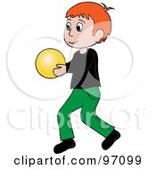 Royalty Free RF Clipart Illustration Of A Little Irish Boy Walking And Holding A Ball
