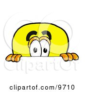 Clipart Picture Of A Light Bulb Mascot Cartoon Character Peeking Over A Surface