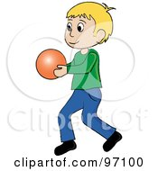 Royalty Free RF Clipart Illustration Of A Little Caucasian Boy Walking And Holding A Ball