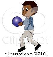 Royalty Free RF Clipart Illustration Of A Little Indian Boy Walking And Holding A Ball