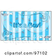Royalty Free RF Clipart Illustration Of A Blue Its A Boy Background With Stripes Planes And Swirls