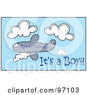 Special Delivery Airplane With A Its A Boy Text In The Sky