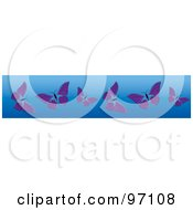 Royalty Free RF Clipart Illustration Of A Horizontal Blue Border Of Purple Butterflies