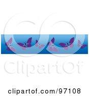 Horizontal Blue Border Of Purple Butterflies