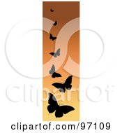 Royalty Free RF Clipart Illustration Of A Vertical Orange Border Of Black Silhouetted Butterflies
