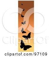 Vertical Orange Border Of Black Silhouetted Butterflies