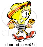 Clipart Picture Of A Light Bulb Mascot Cartoon Character Speed Walking Or Jogging
