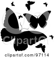 Group Of Fluttering Black Silhouetted Butterflies