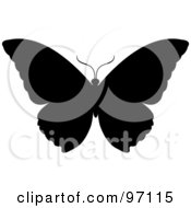 Black Silhouetted Butterfly With Open Wings
