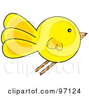 Royalty Free RF Clipart Illustration Of A Yellow Chick Flying In Profile by Pams Clipart