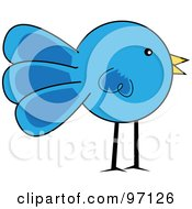 Royalty Free RF Clipart Illustration Of A Standing Blue Chick Profile by Pams Clipart